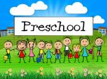 Picture of cartoon children with the word 'preschool' above their heads