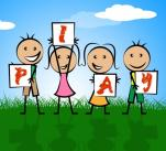 Picture of four cartoon children holding up letters spelling out the word 'play'