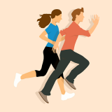 Drawing depicting man and woman running